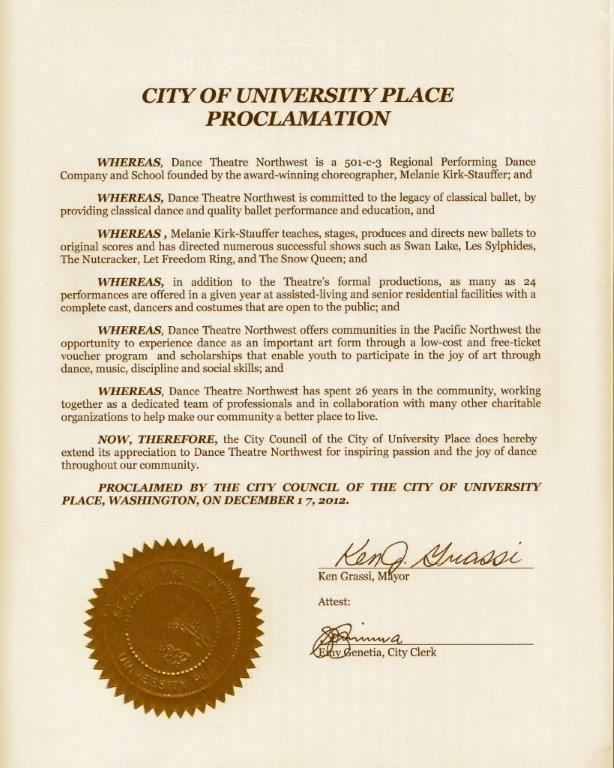 U Place Proclamation 2012